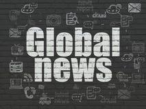 Nyheternabegrepp: Global nyheterna på väggbakgrund Royaltyfri Fotografi