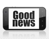 Nyheternabegrepp: Smartphone med goda nyheter på skärm Royaltyfri Fotografi