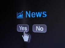 Nyheternabegrepp: Tillväxtgrafsymbol och nyheterna på skärmen för digital dator Arkivbilder