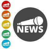 Nyheternamikrofonsymbol, symbol för vektornyheternamikrofon Arkivbilder