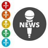 Nyheternamikrofonsymbol, symbol för vektornyheternamikrofon Royaltyfri Bild