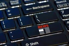 Nyheternasymbolen skriver in på tangent Arkivfoton