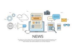 Nyheternasymboler, tidning, uppsättning för baner för pappers- rengöringsduk för minnestavlaSmart telefon stock illustrationer