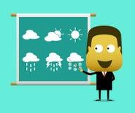 Nyhetsrapport för man för prognos för väderförutsägelse Arkivfoto