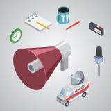 Nyhetsredaktion för nyheterna för begrepp för levande rapport för vektor levande stock illustrationer