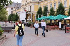 Nyiregyhaza, Hungary. AUGUST 27: People visit Old Town on August 27, 2012 in . In 2011 tourism receipts in Hungary brought 4.03 billion EUR to national stock photo