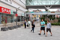 Nyiregyhaza, Hungary. AUGUST 27: People visit shopping area on August 27, 2012 in . In 2011 tourism receipts in Hungary brought 4.03 billion EUR to national royalty free stock photos