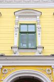 Nyiregyhaza, Hungary. Old town architecture feature. Decorative window royalty free stock photos