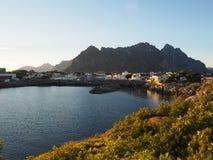 Nyksund de Noruega da casa de barco do porto Fotografia de Stock Royalty Free