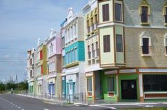 Nyligen framkallat färgrikt shoppar huset på Kampar Perak arkivfoton