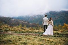 Nyligen gift par som poserar i bergen arkivfoton