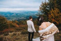 Nyligen gift par som poserar i bergen fotografering för bildbyråer