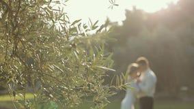 Nyligen gift paranseende i parkera bredvid arkivfilmer