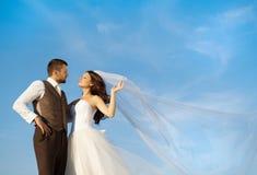 Nyligen gift parstående med blå himmel royaltyfri fotografi