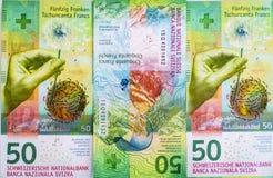 Nyligen 50 schweizisk franc räkningar Royaltyfri Fotografi