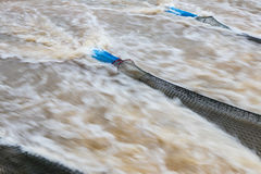 Nylon fishing nets and water tributaries. Stock Photography