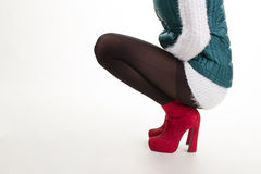 Nylon outerwear and suede shoes. Royalty Free Stock Image