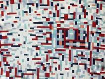 Nylon reale d'annata degli anni 60 del tessuto, crema, rosso, modello geometrico della marina Fotografia Stock