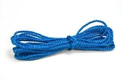 Nylon rope. Blue nylon utility rope isolated on white background Stock Image