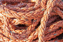 Nylon rope at a ship in the harbor Stock Photography