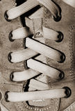 Nylon Shoelaces in Leather Shoe. Closeup of the front of a leather shoe laced with nylon laces Royalty Free Stock Image