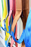 Nylon soft lifting slings. Multicolored nylon soft lifting slings. Warehouse of finished products for industrial enterprises Royalty Free Stock Images