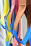 Nylon soft lifting slings. Multicolored nylon soft lifting slings. Warehouse of finished products for industrial enterprises Stock Photo