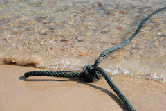 Nylon Vanglijn op het strand Stock Foto's