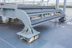 Nylon Wheels. Roller installation with floating landing stage Stock Photos