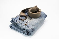 Nylongurt und alte Jeans Stockfotos