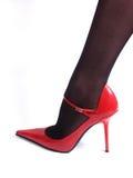 Nylons noirs et chaussure rouge Images libres de droits