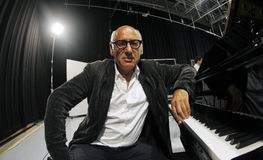 Nyman 021. Composer Michael Nyman seen during the recording of a Symphonies record in the island of Majorca, August 2013, Spain Royalty Free Stock Image