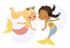 Nymf för vän för flicka för afrikanskt Caucasian tecken för sjöjungfru härlig Ung undervattens- afro- amerikansk kvinnaskönhetmyt royaltyfri illustrationer