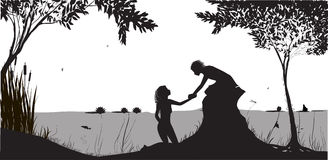 Nymph. Beautiful nymph girl lures young man to the river to swim, lowers, couple black and white shadows, vector stock illustration