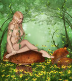 Nymph. Computer graphics scene with Nymph sitting on mushroom on forest glade stock illustration