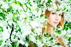 Nymph In Flowers Stock Images