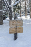 Nymph Lake Sign Covered in Snow Stock Photos