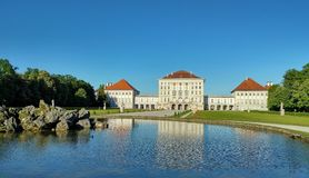 Nymphenburg Palace. A baroque palace with big park and ponds Stock Photo