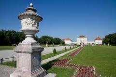 Nymphenburg palace on sunny day. munich germany. Garden Nymphenburg palace on sunny day. munich germany Royalty Free Stock Photos