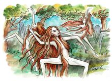 Nymphs. Forest nymphs dancing royalty free illustration