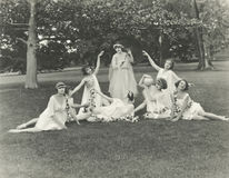 Nymphs posing in park Stock Image