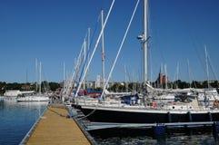 Nynashamn美丽如画的港 免版税图库摄影