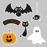 Halloween sticker set, cute bat, spider, ghost, and pumpkin, illustration graphics vector.