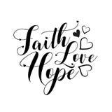 Faith Hope Love- positive handwritten text, with heart.