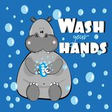Wash your hands- text with cute hippoptamus  and bubbles.