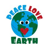 Peace Love Earth saying with cute smiley Earth with heart. G