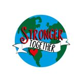 Stronger Together text with hand drawn Earth Planet.
