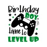 Birthday boy time to level up- funny text with controller.