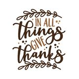 In All Things Give Thanks - Phrase for thanksgiving with leaves.