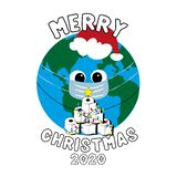 Merry Christmas 2020 - Cute Earth Planet in mask with toilet paper christmas tree.